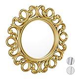 Relaxdays Specchio Decorativo Rotondo, da Parete, con Cornice, Ingresso, Bagno, Camera, Salotto, Ø 50 cm, Oro