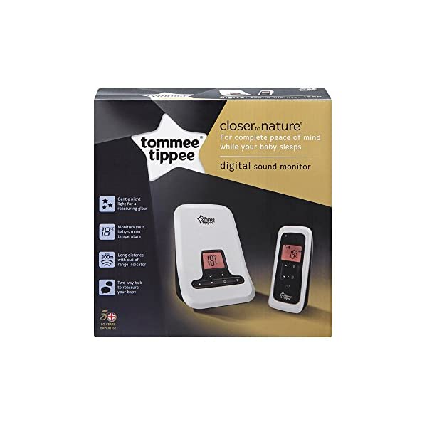 Tommee Tippee Digital Sound Monitor Tommee Tippee Digital Enhanced Cordless Technology (DECT) offers interference-free monitoring Rechargeable docking station for flexible and portable use Easy-to-read LCD screen with room temperature displayed on both units 2