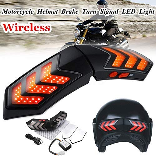 lubishengwuliu Moto LED Light, 12v Wireless Moto Segnali di direzione Impermeabile Ricaricabile LED Brake Casco Intelligente Light ABS Shell Luci di Marcia Indicatori di direzione