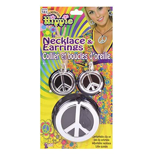 6 Friedenszeichen Halskette und Ohrringe, Silber, Damen, Einheitsgröße ()