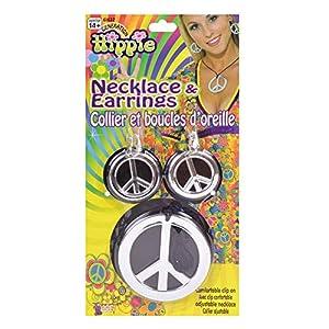 NEW HIPPY NECKLACE & EARINGS PEACE SIGN FANCY DRESS (accesorio de disfraz)