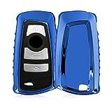 kwmobile BMW Autoschlüssel Hülle - TPU Schutzhülle Schlüsselhülle Cover für BMW 3-Tasten Funk Autoschlüssel (Nur Keyless Go) Hochglanz Blau