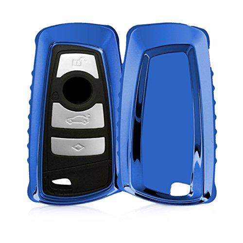 Kwmobile custodia protettiva per chiave controllo remoto bmw con 3 tasti (solo keyless go) - cover chiave auto in silicone tpu - guscio elastico protezione per chiave bmw - azzurro brillante