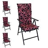 4er Set Polsterauflage für Hochlehner New Orleans, 120x50cm, 6cm dick, Schwarz / Pink - Gartenstuhlauflage Stuhlauflage Sitzauflage Sitzpolsterauflage Sitzkissenpolster