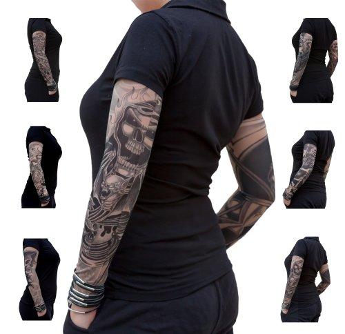 Oblique Unique® Nylon Tattoo Ärmel - Totenkopf - Skull - Einzeln oder als 6er Set (Bats Under Flames)