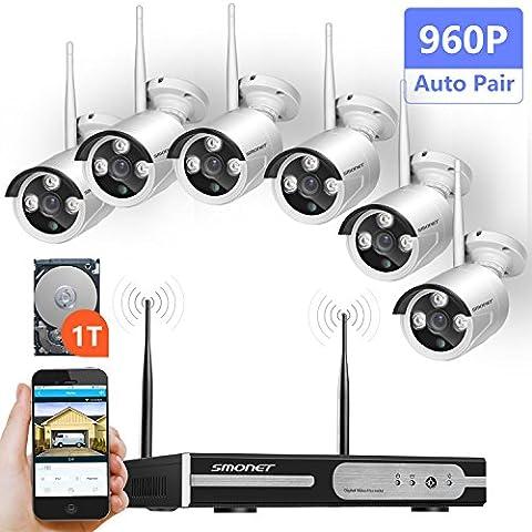 Système de Sécurité Caméra Sans Fil, SMONET 1080P Enregistreur NVR 8 Voies avec 6 Pièce 1.3 MP Caméras IP Vidéosurveillance sans fil Soutien Mouvement Détection Alarme et Vue à Distance par Application iOS Android (Disque dur 1To Préinstallé)