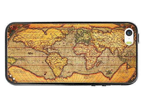 Cellet Schutzhülle Vintage Weltkarte Proguard TPU/PC Schutzhülle für iPhone 5/5S-Retail Verpackung-Klar/Schwarz - Box Otter Case Ipod 5s