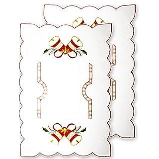 HOMETOOLS.EU® - 2x Tisch-Decken Platz-Deckchen Weihnachten | Weihnachts-Deko Weihnachts-Buffet Unterlage | 44 x 28 cm, 2er SET | (Weiss - Glocke)