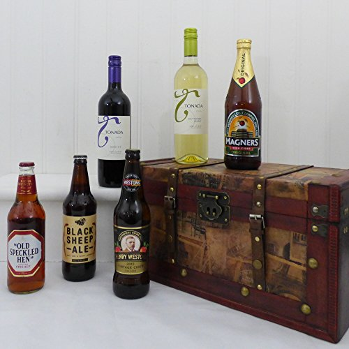 Wine, Beer & Cider Vintage Gift Chest Hamper - Gift Ideas for Valentines, Mother's Day, Birthday, Anniversary, Congratulations, Business and Corporate Presents