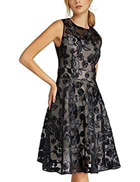 APART Fashion Glamour: Black Meets Champagner with Flowers & Lace, Vestito Elegante Donna