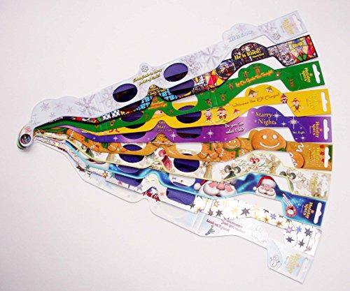 10er-Set Weihnachtsbrillen mit Holo-Effekt: Engel, Stern, Kreuz, Weihnachtsstern, Rentier, Santa Claus, Schneeflocke, Elf, Gingerbread Man / 9 verschiedene Weihnachts-Motive + Pinguin = 10 Holospexbrillen. (!!! Schneeman ist momentan ausverkauft, wir haben ihn durch Pinguin ersetzt)