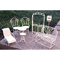 Wunderbar Metall Miniatur Gartenmöbel Set 8 Tlg. Weiß Mini Garten Dekoration Möbel
