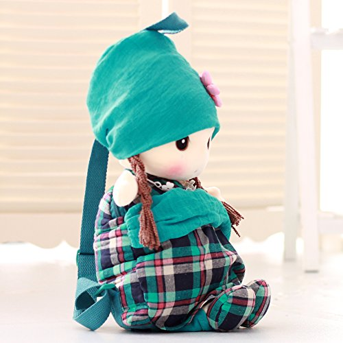 VERCART Rucksack Teddybär Kind Puppe Tuch Doll Little Stuffed Spielzeug Interaktive Kinder Girl Junge Lernspielzeug Geburtstag Geschenk Grün 50cm (Stofftiere Tücher)