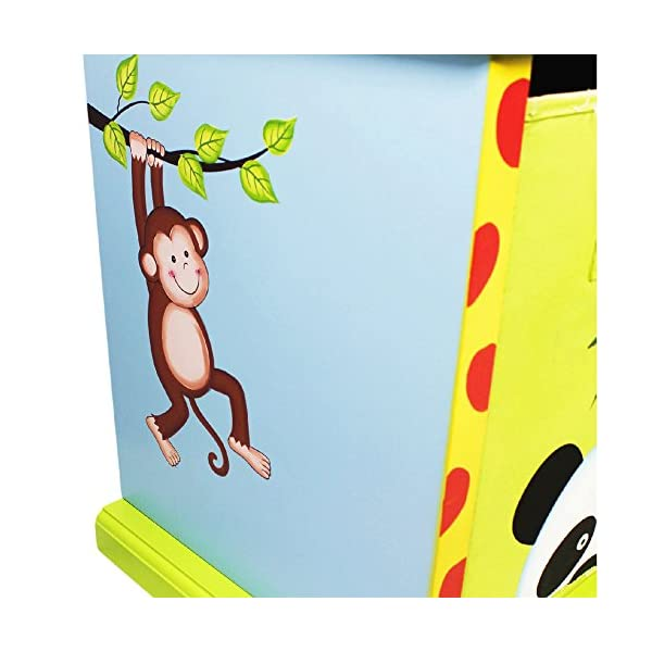 Fantasy Fields - Sunny Safari themed Wooden Drawer Cubby with 3 Canvas Drawers |Hand Crafted & Hand Painted Toy Storage Unit Toybox | Child Friendly Water-based Paint Fantasy Fields By Teamson Colourful organised storage cabinet for those keepsakes, toys, games and nik naks. Dimensions 121.92 x 37.47 x 43.82. 3 canvas bags included Sturdy and free standing. Suitable for Kids Bedroom and Playroom enchancing your little ones organisational skills Teach your kids colour and character recognition and enhance their imaginative minds.  Great for encouraging children's independence 6