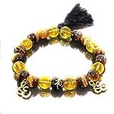 Herren Golden Aum Ohm Yoga Perlen Gummiband Armband Shamballa für Männer