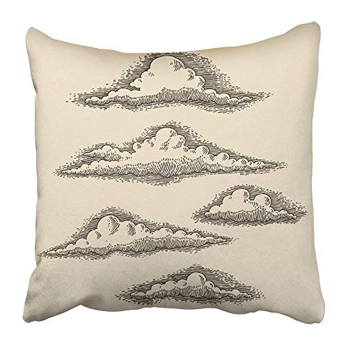No Soy Como Tu Kissenbezüge Print Engrave Retro Clouds Engraving Hand Drawn Sketch Woodcut Draw Vintage Old Pencil Victorian Religion Polyester 18 X 18 Inch Square Hidden Zipper Decorative Pillowcase -