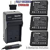 Kastar Battery (3-Pack) And Charger Kit For Panasonic DMW-BCJ13, DMW-BCJ13E, DMW-BCJ13PP, Leica BP-DC10, BP-DC10-E, BP-DC10-U Work With Panasonic Lumix DMC-LX5 DMC-LX55 DMC-LX5K DMC-LX5W DMC-LX7 And Leica D-Lux 5, D-Lux 6 Cameras