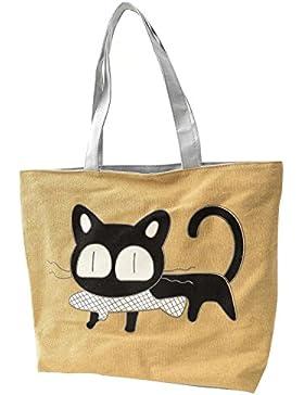 SODIAL(R) Maedchen Katze fressen Fische Einkaufstaschen Schulter Frauen Handtaschen Strand Tasche Taschen Handtaschen...