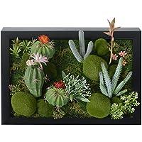 3D Fleurs Artificielles Support mural Cactus Mousse sur la pierre feuilles vert herbe Fleur Rose avec cadre forme vase, 30x 40cm