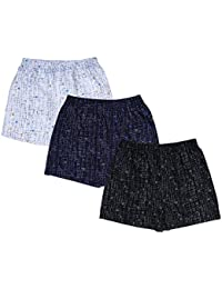 Nuovi Mens Printed Cotton Satin White, Navy Blue And Black Boxers (Pack Of 3)