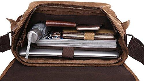 Bdawin Borsa Messenger Uomo di Tela a Tracolla da Viaggio Casual Retro porta PC,8802 Nero Cachi