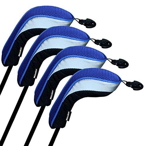 Andux couvre de tête du club de golf hybride 4pcs une serie noir et bleu interchangeables NO. tag MT/hy04
