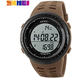 3D pedometer sports watch LED display quality Japanese electronic movement 50 meters waterproof wristwatch(Khaki)