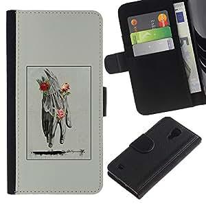 KingStore / Custodia in pelle Protettiva Flip Case Cover / Samsung Galaxy S4 IV I9500 / Mano Uomo Primavera Deep Rose Significato