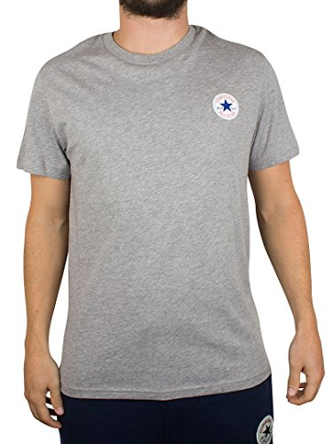 Converse Uomo Nucleo petto sinistro logo T-shirt, Grigio, Medium