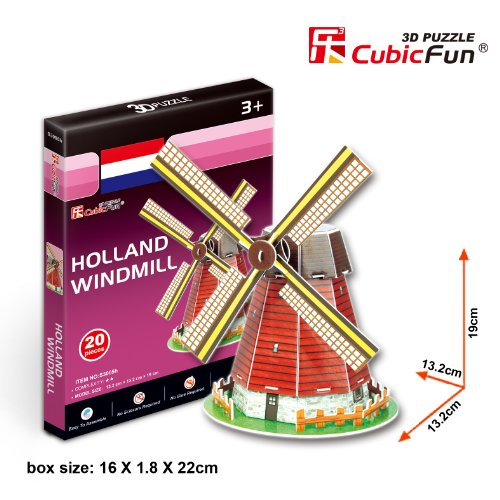Cubic Fun - Berühmte Bauwerke 3D Puzzle - Spielzeug Modell Architektur Monument - Inhalt: Holland Windmühle 19cm