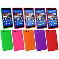 Emartbuy® Sony Xperia Z3 Compact Silikon Skin Tasche Case Hülle Packung 5 - Hot Rosa, Rot, Lila, Orange, Grün