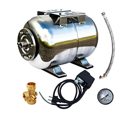 AWM Hauswasserwerk Druckkessel Membrankessel Edelstahl Ausdehnungsgefäß Druckbehälter, 5 teilig set, 24 L, AM-HWW-E24-S (Kessel Ausdehnungsgefäß)