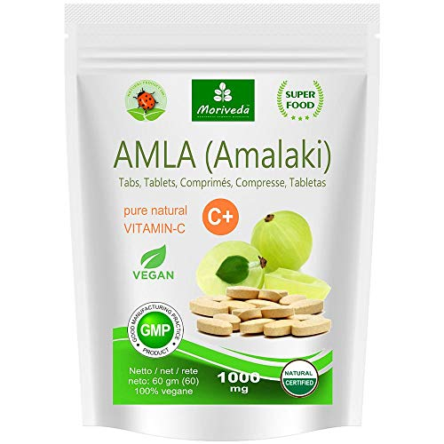 Amla Tabletten 1000 mg Vitaminbombe - 100{d00bbf2f74c3a14cbecd9b4b5838212e84fdd57e465454792400b08733ea0cf9} Naturprodukt mit Vitamin-C, Chrom, Mineralstoffen, Proteinen und B-Vitaminen. Immunsystem, Antioxidans (60 Amalaki Presslinge)