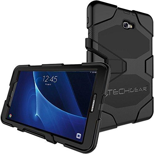"""TECHGEAR G-Shock Étui pour Galaxy Tab A 10.1"""" 2016/2018 (Séries SM-T580) Coque Rigide, Haute Protection Anti-Choc avec Support Amovible Compatible pour Samsung Galaxy Tab A 10.1 2016/2018 [Noir]"""