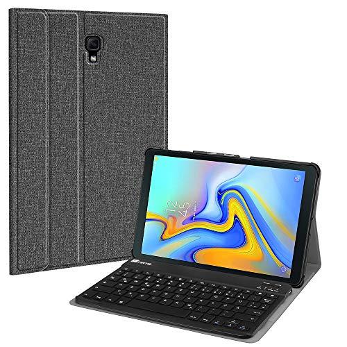 le für Samsung Galaxy Tab A 10.5 SM-T590/T595 2018 Tablet-PC - Ultradünn leicht Schutzhülle mit magnetisch Abnehmbarer drahtloser Deutscher Bluetooth Tastatur, Stoff dunkelgrau ()