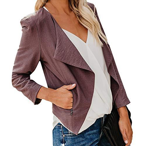 Bhydry donna giacche manica lunga giacca open front cardigan corto tuta ufficio lavoro