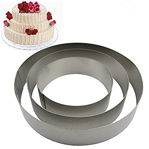 TAMUME Stainless Steel Round Cake Tin Set of 3 for Layer Cake Mould Mousse Ring Mould Ideal for Wedding Cake Mould Set and Dessert Mould