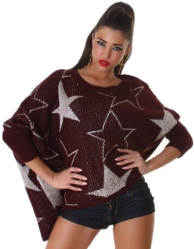 Jela London Damen Pullover in Fledermaus-Optik mit Sternmuster Einheitsgröße (34-42), braun