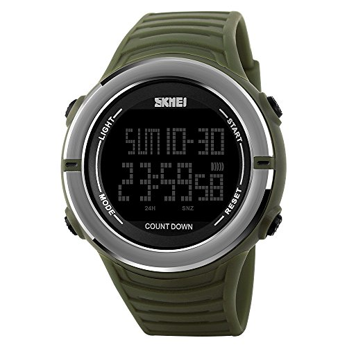 Amazon TONSHEN Digitales Relojes de Hombre Deportivos LED Número Display Impermeable 50M Resistente Agua Doble Tiempo 12H/24H Alarma Fecha Cronómetro Plástico Bisel Y Correa Goma Relojes de Pulsera