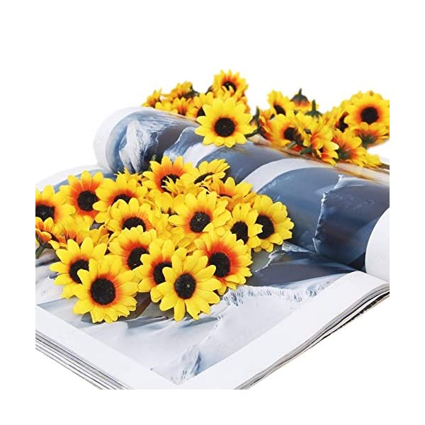 SALAKA 100 Piezas de Flores de Gerbera Artificial Girasol Artificial Amarillo Cabeza de Margarita Artificial para Fiesta…