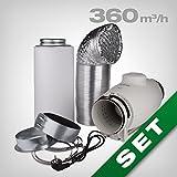 Aktivkohlefilter Lüftungsset inkl. S&P SILENT Rohrventilator 280/380 m³/h AKF Belüftungsset für Growbox/Homebox - besonders geräuscharm