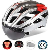 Shinmax Casco Bicicleta con luz,Certificado CE, Casco de Ciclo Especializado con Visera Magnética Desmontable Gafas de Protección Super Light Casco Integral de Bicicleta Skateboarding Ski & Snowboard