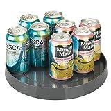 mDesign Lazy Susan mit 27,9 cm Durchmesser für das Küchenregal – praktisches Gewürzregal für Küchenschrank – drehbarer Gewürzhalter aus Kunststoff – anthrazitgrau