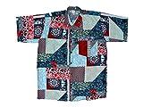 Ontop-Fashion Hawaiihemd Hawai Freizeit Hemd Shirt Viskose rot blau Blumen Ornamental Patchwork, Größe:XXL
