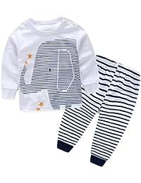 Malloom Niños ropa ropa de bebé de impresión camiseta Tops + raya larga pantalones 1 Set