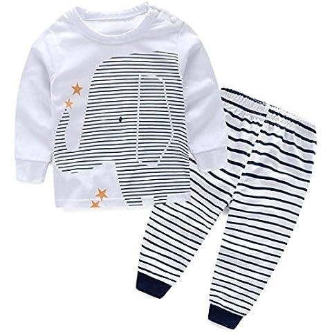 Ularma Neonati Riforniscono Dei Vestiti Magliette Di Stampa + Stripe Pantaloni Lunghi 1 Set