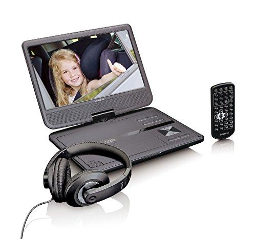 Lenco DVP-1010BK Tragbarer DVD-Player mit USB, Kopfhörer, Kopfstützenhalterung, 180 Grad dreh und neigbarer Bildschirm, 25,4 cm (10 Zoll) schwarz