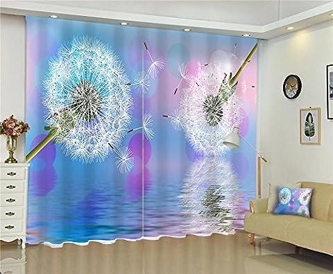 Dbtxwd Polyester 3D Espace visuel Pissenlit Impression digitale Drapeau noir Brillant épais Réduction de la chambre Salon de la fenêtre Décoration Rideaux , wide 150x high 166 (wide 75x2)