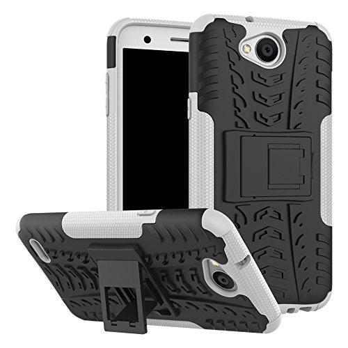 Sunrive Hülle Für LG X Power2, Tasche Schutzhülle Etui Case Cover Hybride Silikon Stoßfest Handyhülle Hüllen Zwei-Schichte Armor Design schlagfesten Ständer Slim Fall(Weiß)
