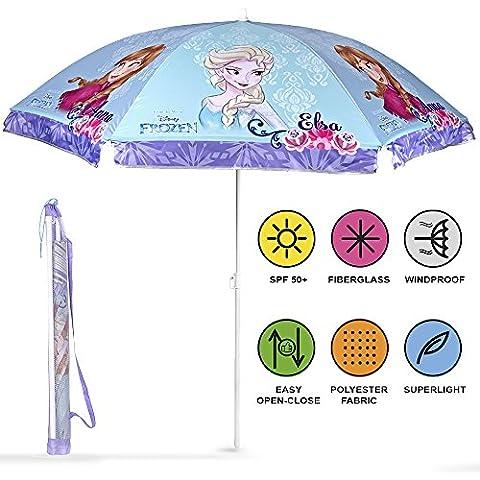 Schirm für Strand / Garten / Meer / Terrasse. Windfest – Jungen und Mädchen mit Motiven aus Frozen – Lichtschutzfaktor UV SPF 30+. Schirm